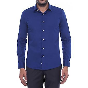 Indigo blå slim fit menn's skjorte | Wessi