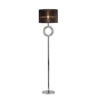 Inspired Diyas - Florence - Round Floor Lamp with Black Shade 1 Light Polished Chrome, Crystal