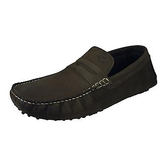 Base London Morgan Mens Slip On Oily Leather Driving Loafers / Shoes - Brown