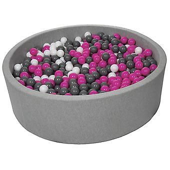 Poço de bola 125 cm com 1200 bolas brancas, roxas e cinza