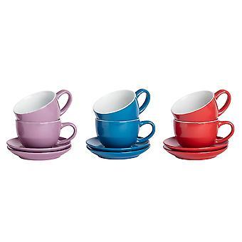 Vajilla de argón 12 piezas de la taza de capuchino de color y juego de la platillo - púrpura azul rojo - 250ml