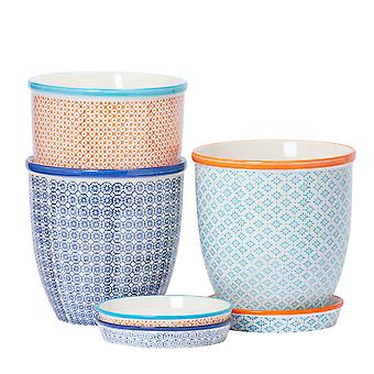 Nicola Spring 3pc Hand-Printed Plant Pot with Saucer Set - Porcelain Flower Pots and Drip Tray - 3 Colours - 20 x 20.5cm