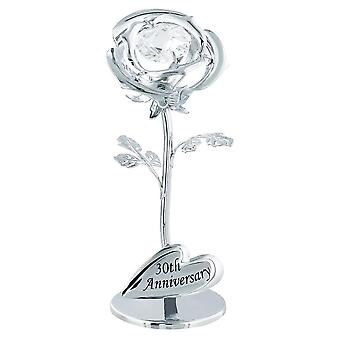 """Modern """"30th Anniversary"""" Silver Plated Flower with Clear Swarovski Crystal Bead"""