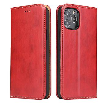 For iPhone 12 Pro/12 Case Leather Flip Wallet Folio Cover with Stand Red
