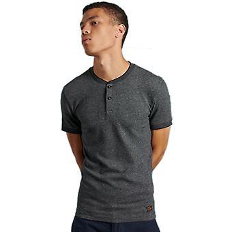 Superdry Henley Short Sleeve Grandad T-Shirt Charcoal 90