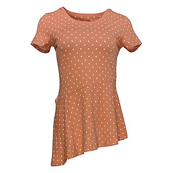 Isaac Mizrahi Live! Dames's Top Polka Dot Asymmetrische Hem Orange A354778