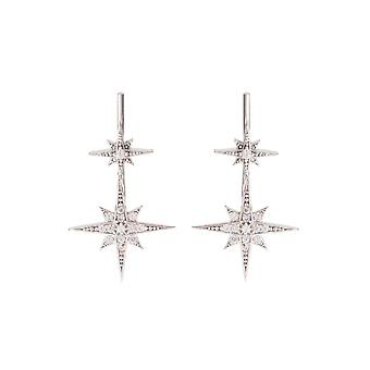 Silver White Sparkly Star Burst CZ Bridal Jewellery Delicate Ear Climber Pair