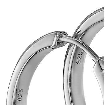 Débuts 925 Sterling Silver Ladies' Boucles d'oreilles Huggie Hoop argent avec pierres CZ