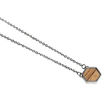 BeWooden Lini Hexagon Necklace - Silver/Brown