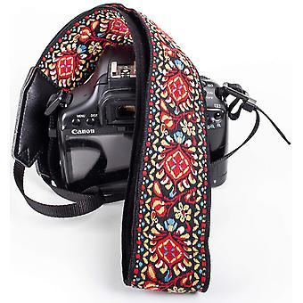 Cintura a tracolla vintage rossa per tutte le fotocamere dslr - cinturino dslr universale dal design vibrante,