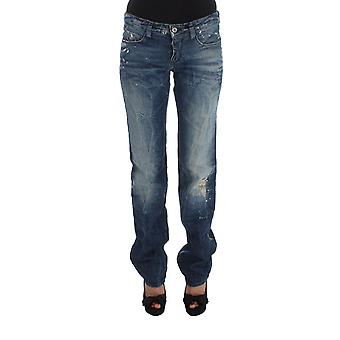 Costume National Blue Cotton Regular Fit Faded /Distressed Denim Jeans