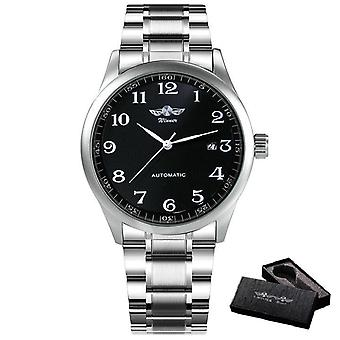 Fashion Business Automatic Mechanical Watch, Men Time Master Leather Strap
