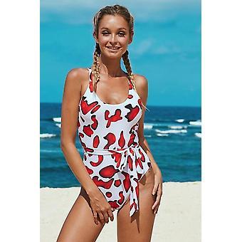 Scoop Neck High Cut Einteiler Badeanzug mit Schärpe