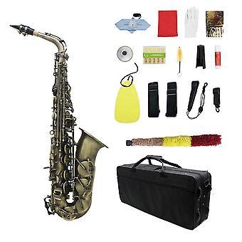 Alto Saxofoon Sax Carve Patroon Saxofoon Full Kit met draagtas handschoenen mondstuk riemen Riet staan Kurk vet reinigingsdoek