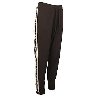 Doris Streich Black Relaxed Fit Loungewear Style Pants With Lime & Grey Detail