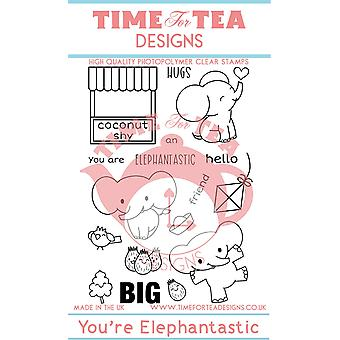 Time For Tea Elephantastic Clear Stamps