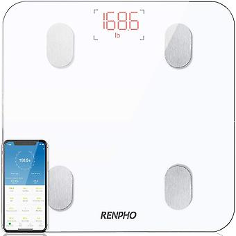 Bluetooth Body Fat Scale, RENPHO Digital Smart Bathroom Weight Scales , White