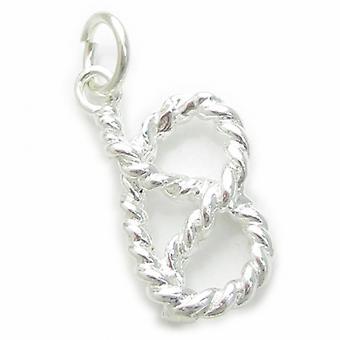 Knoten in Seil Sterling Silber Charm .925 X 1 Liebe Knoten Erinnerung Charms - 4515