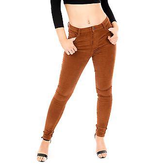 Slim Cord Velour Trousers - Brown