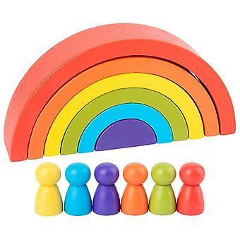 Çocuk 's Ahşap Renkli Taş Jenga Yapı Taşı Eğitim Oyuncak