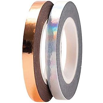 Rose Gold and Iridescent Silver Narrow Washi Tapes Set of 2