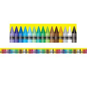 """Bordes/Recortes, Magnético, Corte Rectángulo - 1-1/2"""" X 24"""", Tema Crayón, 24' Por Paquete, 2 Paquetes"""