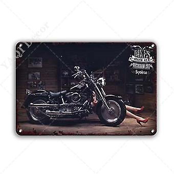 Vintage Motorcycles Tin Sign Retro Motor Garage Decor Metal Plate Signs