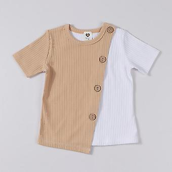 Round Neck, Short Sleeves T-shirt, Ribbed Contract Patched For And
