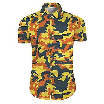 Allthemen Men's Camouflage Fashion Slim Short Sleeve Casual Shirt