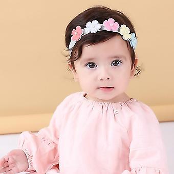 1 أجهزة الكمبيوتر الشخصية الطفل القوس الدانتيل عصابات الرأس بيرل الزهور الرأس أغطية الرأس الشعر باند