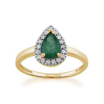 Gemondo 9ct желтого золота 0.66ct грушевидной формы изумруд & кластера кольцо