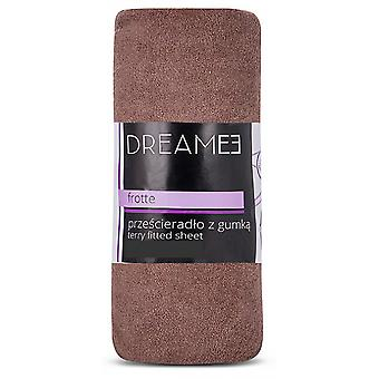 spanbed sheets Terry 180 x 200 cm cotton/polyester brown