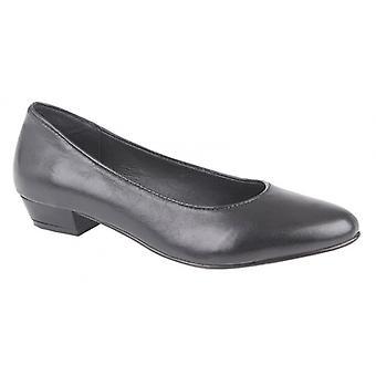 Mod Comfys Jules Ladies Leather Court Shoes Black