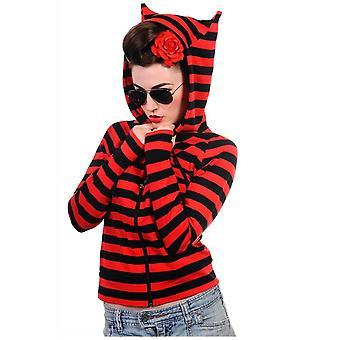 Banned Apparel Cat Ears Red & Black Striped Zip Hoodie