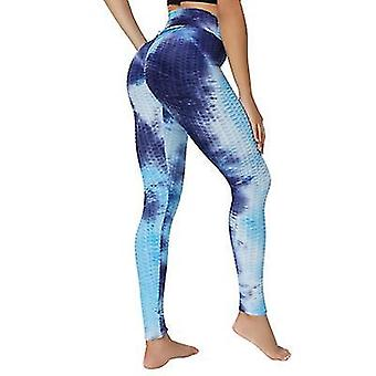 L modré vysoké pas jógové kalhoty cvičení sportovní bříško ovládání legíny 3 cesta stretch máslové měkké x2054