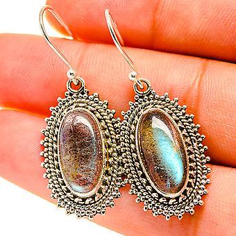 """Labradorite Earrings 1 1/2"""" (925 Sterling Silver)  - Handmade Boho Vintage Jewelry EARR417160"""