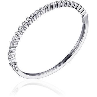 Bijoux Gisser - Bracelet - Bracelet avec charnière réglée en Zircone en conversion Glad - 4mm De Large - Taille 60 - Gerhodineerd Zilver 925