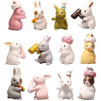 12 Pcs Lovely Rabbits Animal Characters Toys Figurines Playset, Garden Cake Decoration, Cake Topper