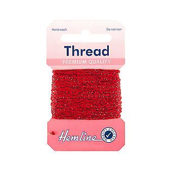 SISTE FÅ - 10m Rød Glitter Tråd for håndverk | Garnledning og elastisk for håndverk