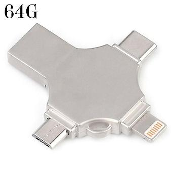 (64G) 4 in 1 OTG Types C USB 3.0 Flash Drive Memory Stick For iPhone Android