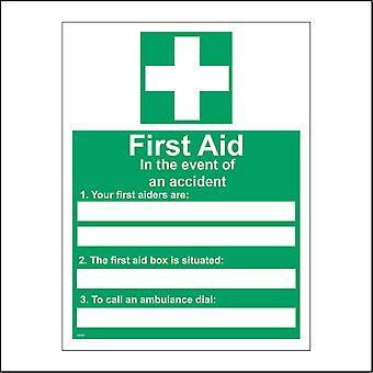 FS157 First Aid In The Event Of An Accident Sign with First Aid Cross