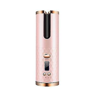 rechargeable Wireless Auto rotating iron hair curler ceramic wand styling tools(Pink)