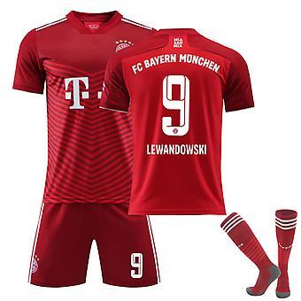 Lewandowski #9 Jersey Home 2021-2022 Uusi kausi FC Bayern München Jalkapallo T-paidat Jersey Set lapsille Nuorille