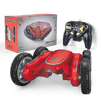 Toy cars 2.4Ghz remote control rotating car  4wd headlights double sided 360° rc for boys girls red