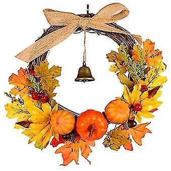 Seppeleet seppeleet kurpitsa garland kello kurpitsa vaahteran lehdet pudota seppeleen sadonkorjuu seppele keinotekoinen syksy