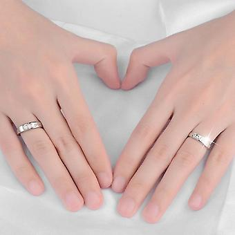 Zircon Rings 1 Pair 30% Sterling Silver Forever Love Carved Jewelry Non-fading