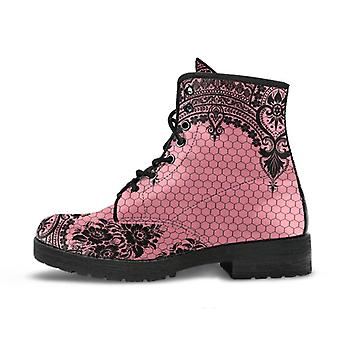 Pink combat boots-gothic lace print 109