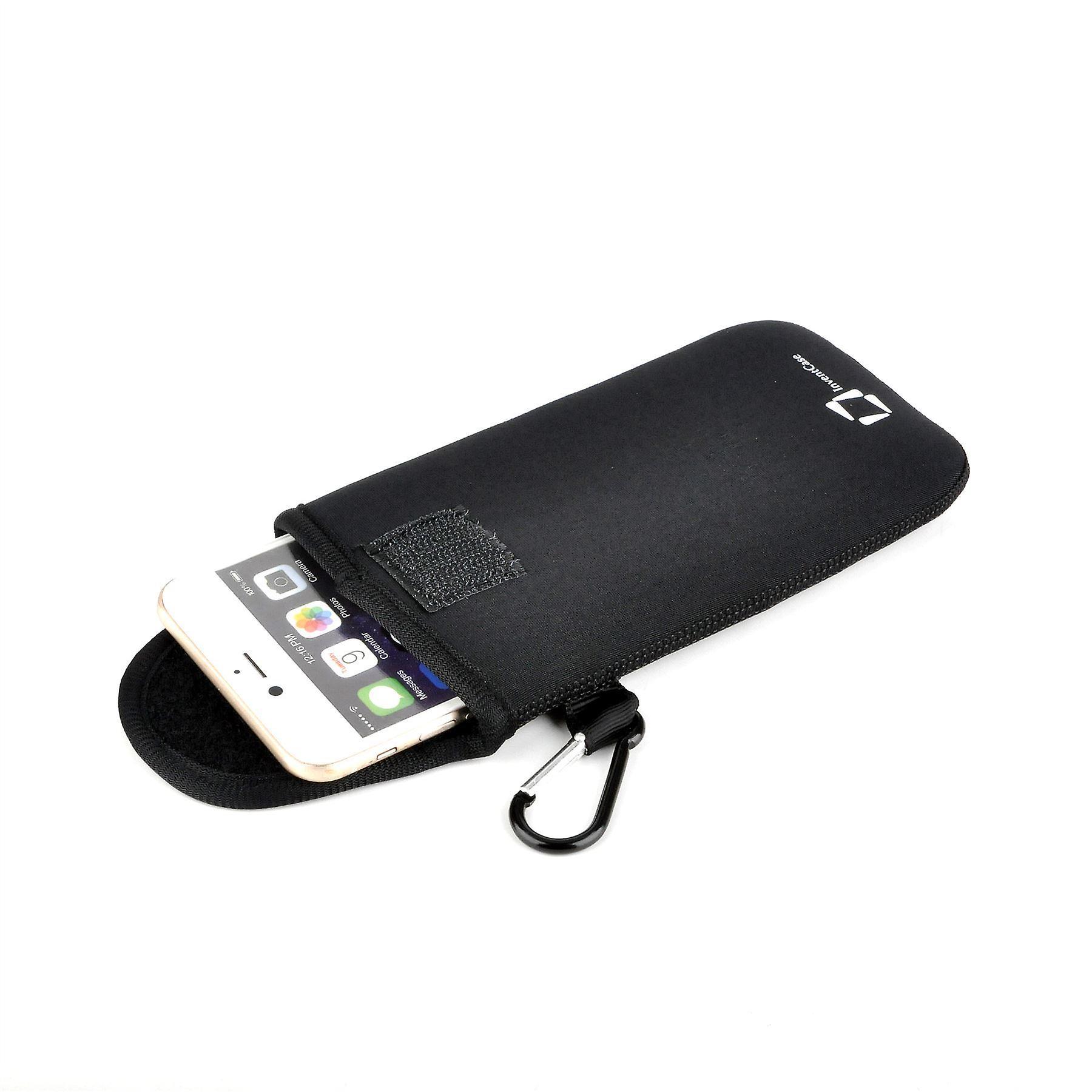 إينفينتكاسي النيوبرين أثر مقاومة الحمائية الحقيبة القضية تغطية حقيبة مع Velcro الإغلاق و Carabiner الألومنيوم ل S4 غالاكسي سامسونج ميني--الأسود