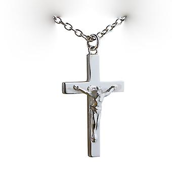 Silver 40x25mm solid block Crucifix Cross with a cable Chain 24 inches