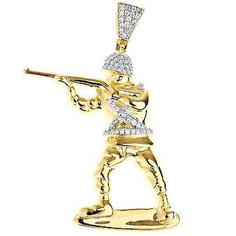 Premium Bling - 925 sterling silver soldier pendant gold